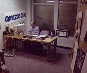 Supposedly a photo of Bezos in Amazon office in early days 1999